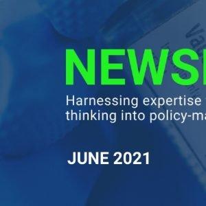 Blue banner image showing the UK Pandemic Ethics logo alongside the heading Newsletter June 2021